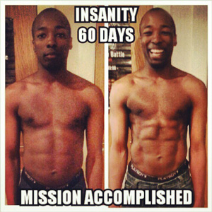 The result of 60 days of Insanity Workout - Before and After Front View